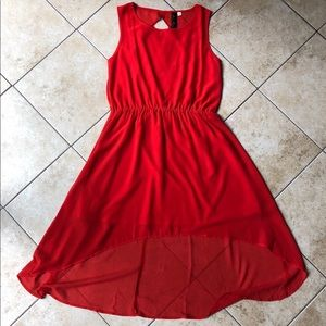 High-low dress with criss cross back detail